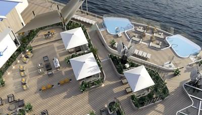 Creado por la diseñadora de clase mundial Kelly Hoppen CBE y el arquitecto Tom Wright, el Rooftop Garden invita a los huéspedes a jugar o relajarse día y noche. Ya sea para relajarse a la sombra de una de las zonas de descanso, pasar la noche bailando o mirar las estrellas mientras el barco se desliza sobre el mar, el Rooftop Garden ofrece a cada persona un ambiente ideal para escapar de la realidad. (PRNewsfoto/Celebrity Cruises)